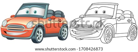 Cartoon red cabriolet car. Coloring page and colorful clipart character. Cute design for t shirt print, icon, logo, label, patch or sticker. Vector illustration.