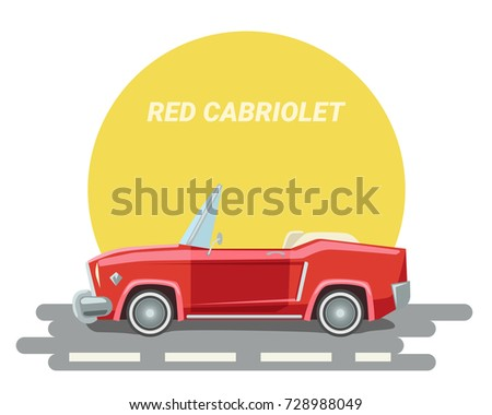 Cartoon red cabriolet vector. A car without a top on the road. Illustration of a red car. Old cabriolet. Muscular.