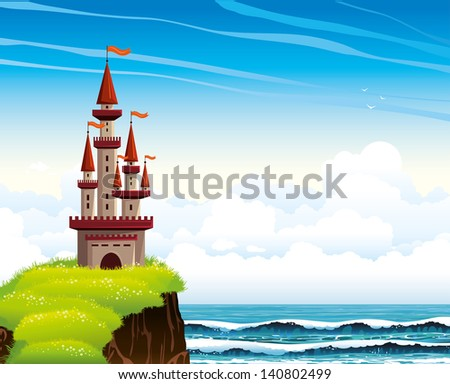 cartoon red castle standing on