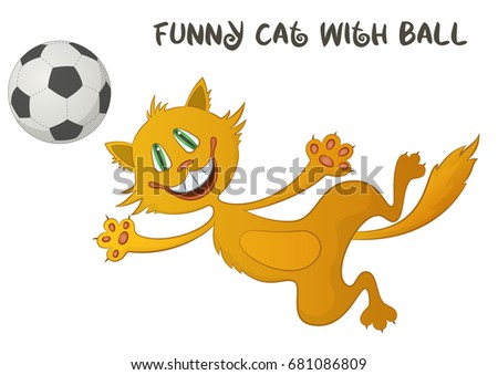 cartoon red cat  funny pet