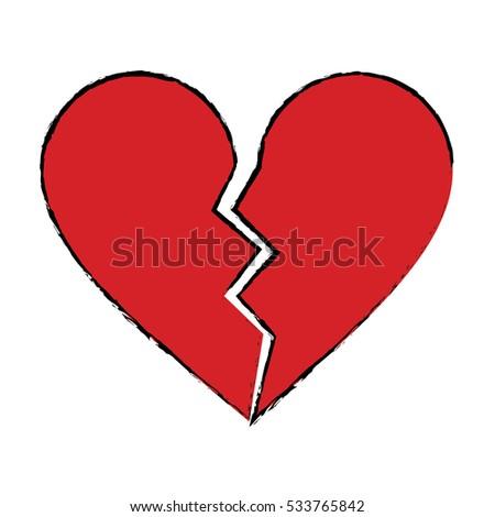 cartoon red heart broken sad
