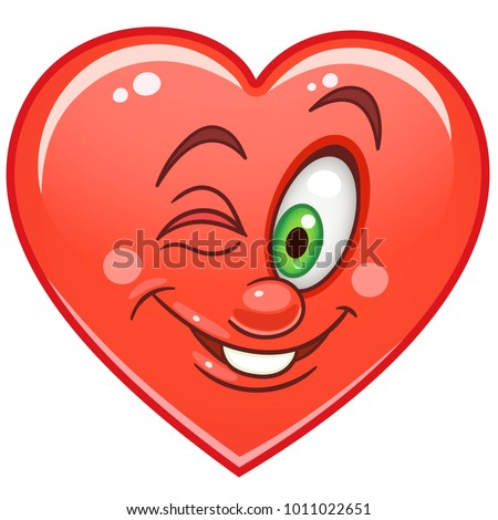 Cartoon red Heart wink. Emoticons. Smiley. Emoji. Love Emotion symbol. Design element for Happy Valentines Day greeting card, kids coloring book page, t-shirt print, icon, logo, label, patch, sticker.