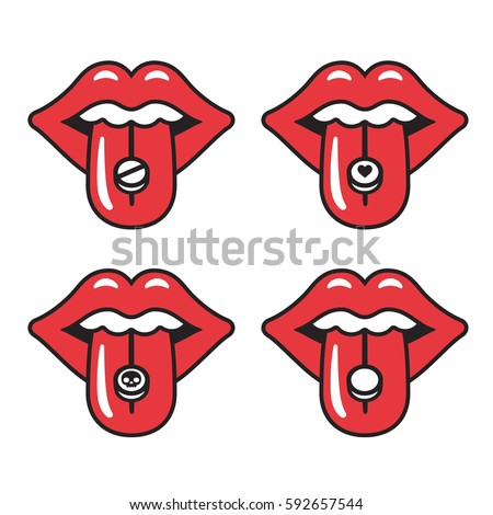 cartoon red lips with different