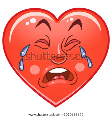 cartoon red lonely heart crying