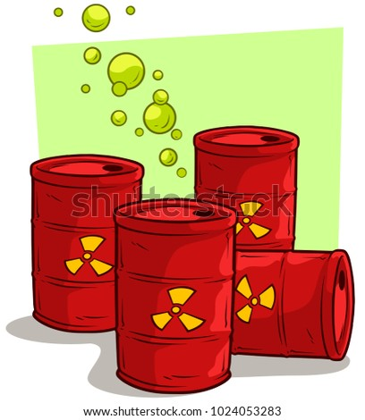 Cartoon red metal barrels with yellow radiation sign and green gas bubbles. Toxic waste. Vector set icon.