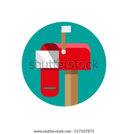 cartoon red opened mailbox with regular mail inside. vector illustration in flat design