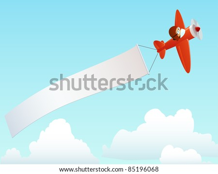 Cartoon red plane with pilot and advertising banner in the sky. Vector illustration.