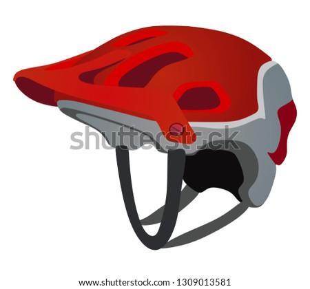 Cartoon red stylish designed helmet for sportsmen