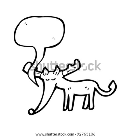 cartoon reindeer with speech bubble - stock vector