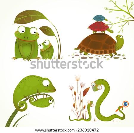 cartoon reptile animals parent