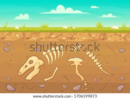 Cartoon reptile bones ground. Archeology buried bones game underground, dinosaur skeleton in soil layers vector background illustration. Reptile archeology, ancient extinct prehistory stock photo