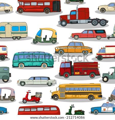 Cartoon retro cars seamless pattern