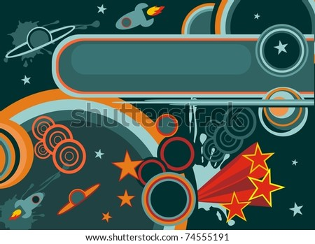 cartoon retro space background