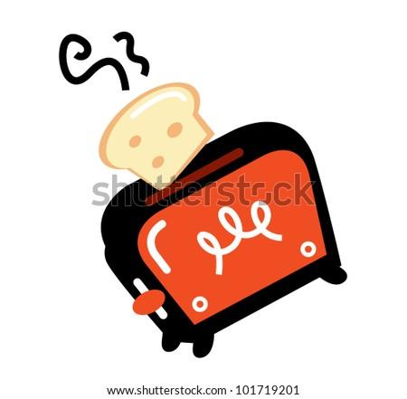 Cartoon retro toaster isolated on white