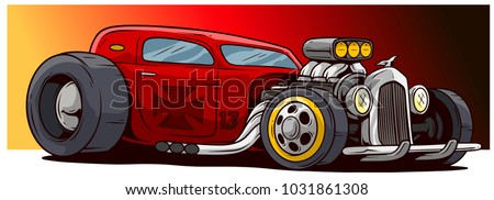 Cartoon retro vintage red hot rod sport racing car with big wheels and cross. Vector icon.