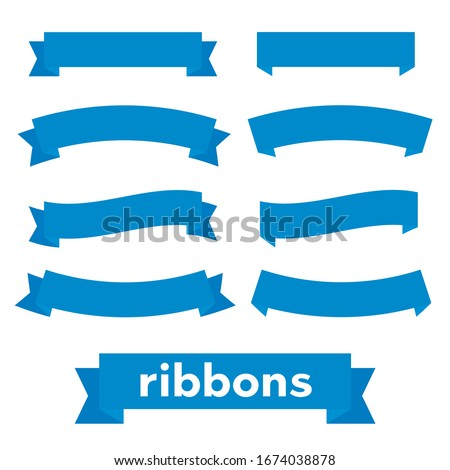 Cartoon ribbon set vector illustration. Banner ribbon vector set. Colored ribbon for decoration