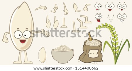 Cartoon rice character set. Eyes, arms, mouths and legs. Varied expressions. Rice plant, rice bowl and rice bag.