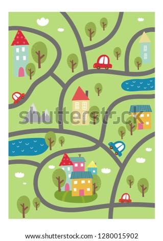 cartoon roads with house  tree