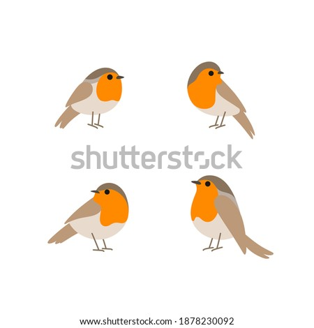 Cartoon robin bird icon set. Cute bird in different poses. Vector illustration for prints, clothing, packaging, stickers. Zdjęcia stock ©
