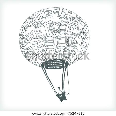 Cartoon Robot Balloon on White Background