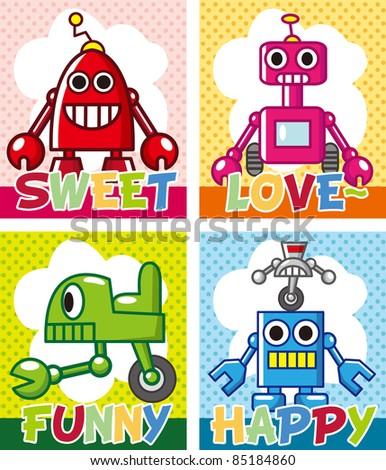 cartoon robot card - stock vector