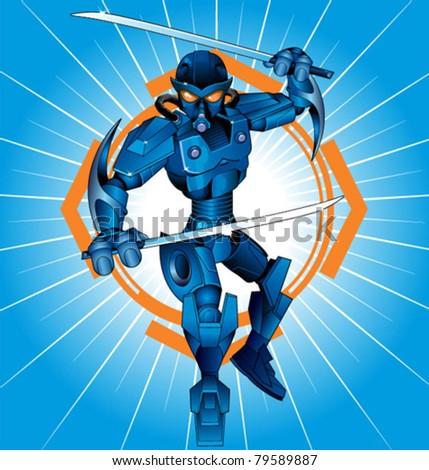 cartoon robot ninja