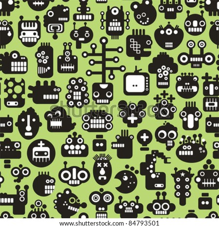 Cartoon robots faces seamless pattern on green. Vector background.