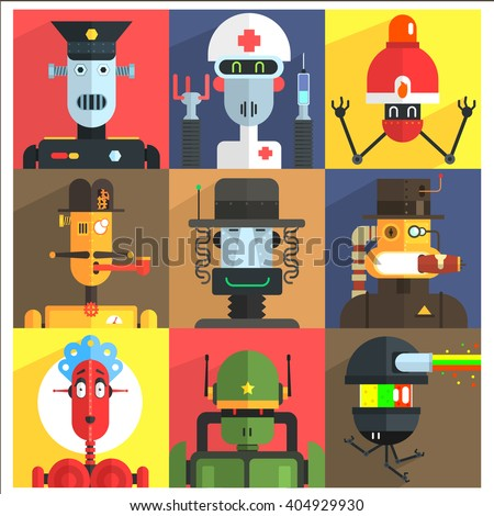 cartoon robots of different