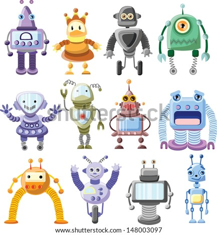 Cartoon robots set vector