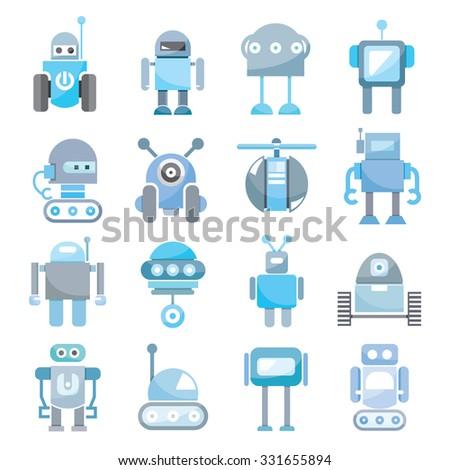 cartoon robots  vector set