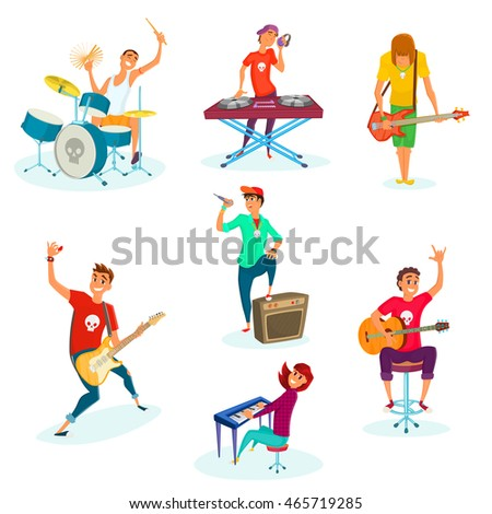 cartoon rock teenage band set