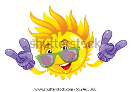 cartoon rock the sun with a