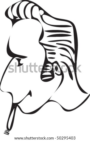 stock vector : cartoon rockabilly hairstyle with cigar