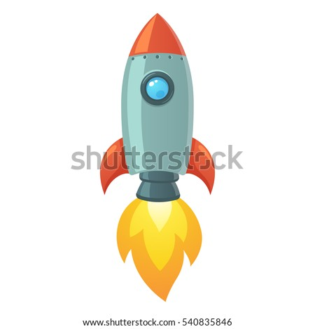 Cartoon rocket space ship take off, isolated vector illustration. Simple retro spaceship icon.