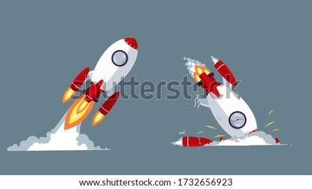 cartoon rocket taking off and