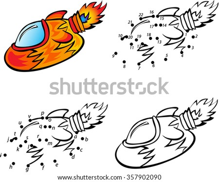 Cartoon Rocket. Vector Illustration. Coloring And Dot To Dot ...