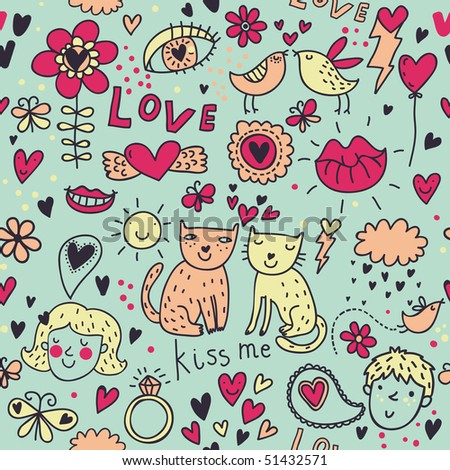 Cartoon romantic seamless pattern with kids, cats, birds and so on - stock vector