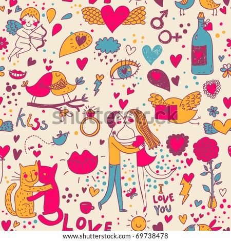 Cartoon romantic seamless pattern with lovers, cats and birds