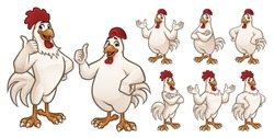 Cartoon Rooster and Chicken Mascot with 8 poses EPS 10 Vector