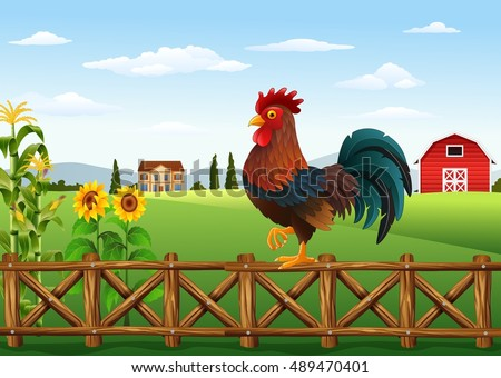 Cartoon rooster standing on the fence with farm background