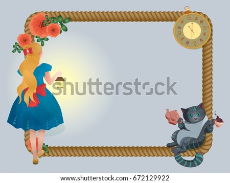 Cartoon rope frame Alice in Wonderland with cheshire cat, watch, girl and roses. Vector illustration.