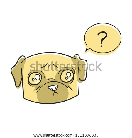 c0cd23d00e0 Cartoon sad character pug dog with comic bubble and symbol of question. Dogs  emoji sticker