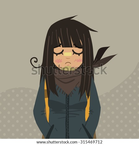 cartoon sad girl mascot the