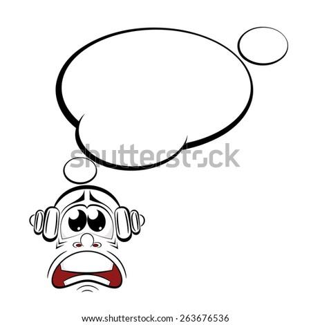 cartoon sad with headphones