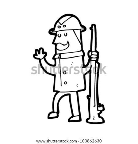 Man Cartoon Drawing Cartoon Safari Hunter Man