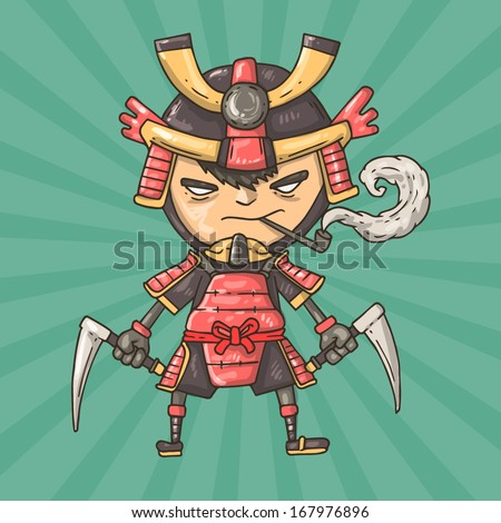 cartoon samurai