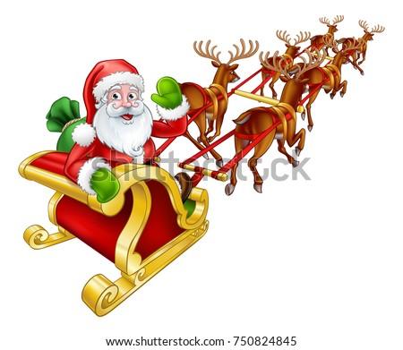 cartoon santa claus and his