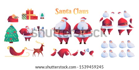 Cartoon santa claus animation set. Winter holiday character creation kit with emotions, gestures. Vector santa with bell, megaphone in hands, reindeer with sled, christmas tree, snowman, present boxes