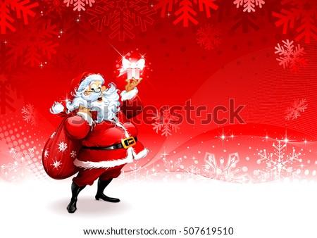 Cartoon Santa Claus character holding a present. Christmas background design, vector illustration