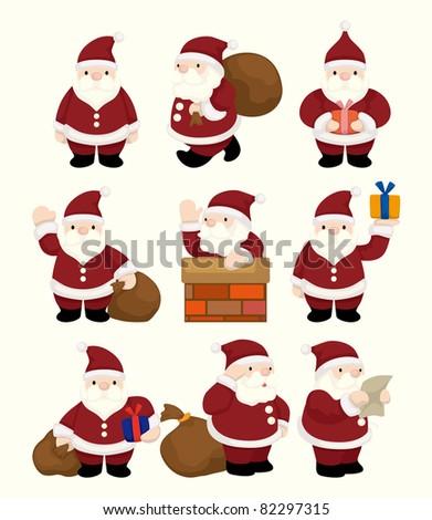 cartoon santa claus Christmas icon set